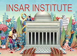 INSAR Institute Logo with person typing on keyboard surrounded by people