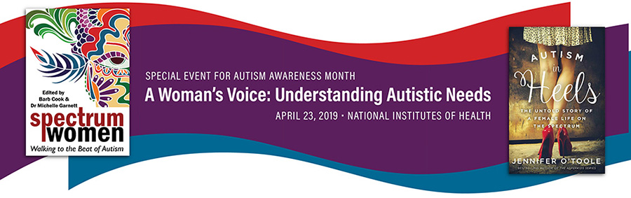 Banner for NIMH special event for autism awareness month. Includes two book covers.