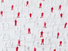 red and white figures inside a map