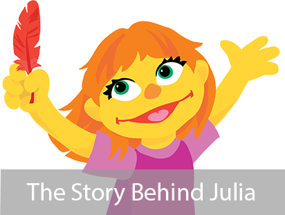 Julia, Sesame Street's Muppet with Autism.  Go to the meeting page