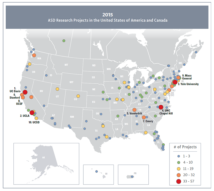 Map of the U.S. and Canada displaying the distribution of autism-related research projects funded by Federal agencies and private organizations in 2015.