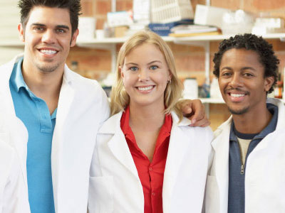 Students with lab coats