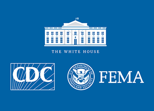 Combination of 3 logos, the white house, the cdc, and hhs