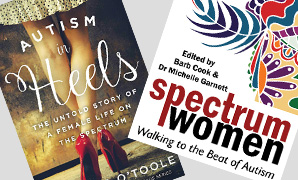Autism in Heels and Spectrum Woman book covers.  Go to the meeting page