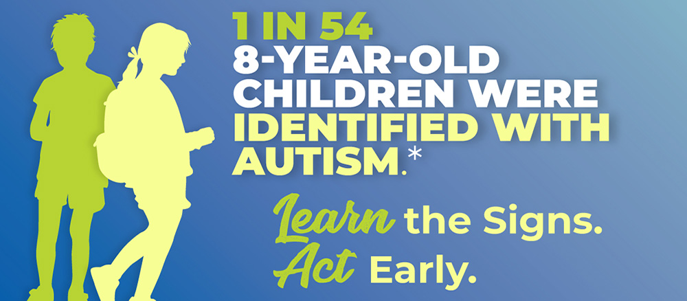 silhouette of two kids with text next to them indicating autism prevalence statistics of 1 in 54. Go to that Page
