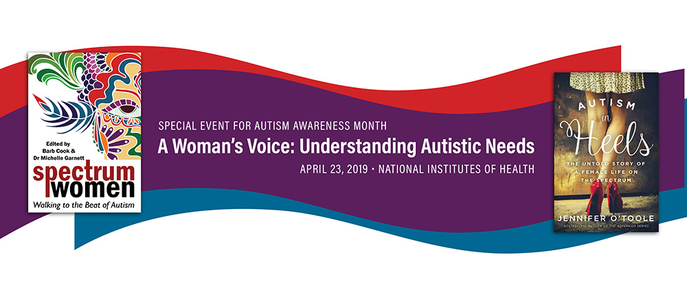 Banner image for NIMH autism awareness month event. Includes two book covers. Go to that Page